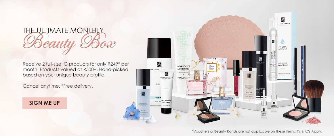 Receive 2 full-size IG products for only R249 per month! Products valued at R500+. Hand-picked based on your unique beauty profile. Cancel anytime. *Free delivry.